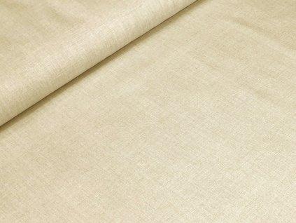 Bavlněné plátno - Lněný efekt béžová