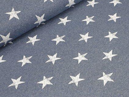 Elastická teplákovina - Hvězdy na džínově modré