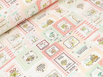 Bavlněné plátno - Garden patchwork