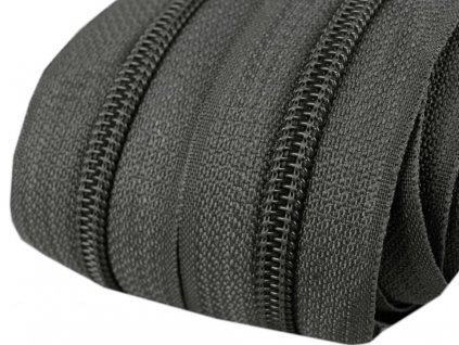 Zip spirálový 5 mm metráž - šedá tmavá
