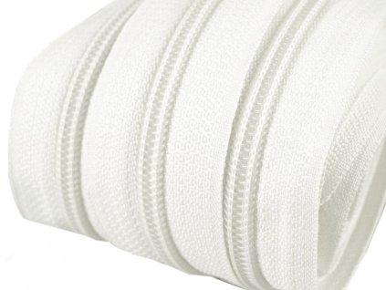 Zip spirálový 5 mm metráž - bílá