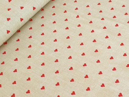 Bavlněné plátno - Srdíčka červená na režném béžovém efektu