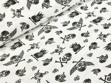 Bavlněné plátno - Lebky na bílé