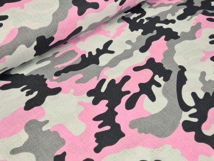 Bavlněné plátno - Maskáč růžový