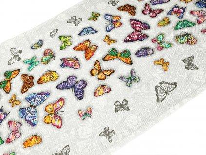 Utěrkovina / vaflové piké - motýli (63x50 cm)
