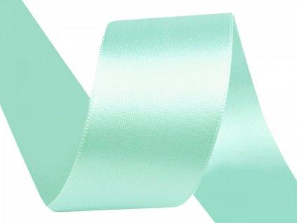 Atlasová stuha oboulící šíře 40 mm - mentol