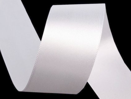 Atlasová stuha oboulící šíře 40 mm - bílá