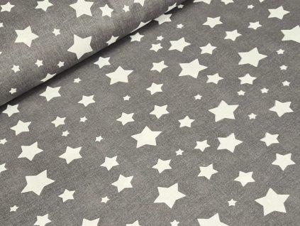 Bavlněné plátno - Hvězdy bílé na šedé