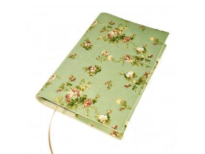Nastavitelný obal na knihu - Růžičky na pastelově zelené