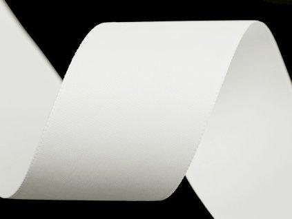 Atlasová stuha oboulící šíře 40 mm matná - bílá