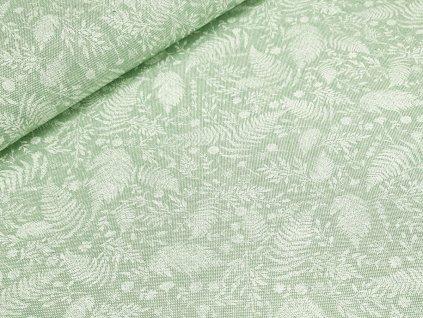 Dekorační látka - Kapradí na pastelově zelené