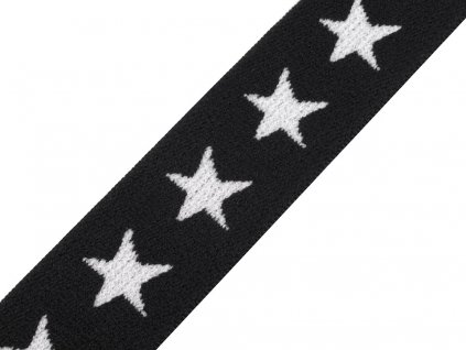 Pruženka vzorovaná 20 mm hvězdy - černá