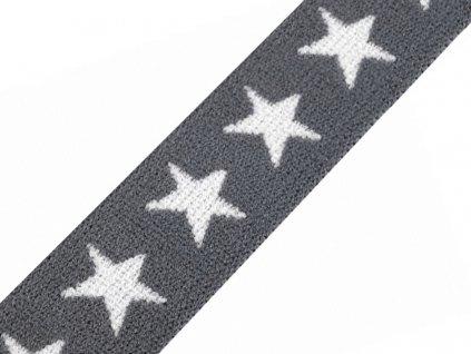 Pruženka vzorovaná 20 mm hvězdy - šedá