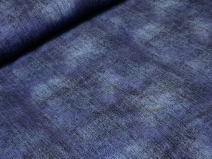 Elastická teplákovina DIGI - modrá džínový efekt