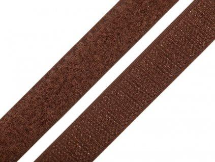Suchý zip šíře 20 mm komplet - hnědá