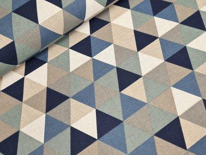 Dekorační látka - Trojúhelníky modrá/béžová