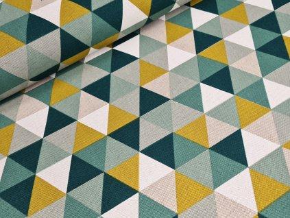 Dekorační látka - Trojúhelníky zelená/okrová