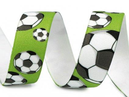 Pruženka s potiskem 25 mm - Fotbal zelená