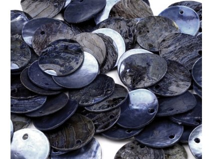 Perleťové penízky 15 mm - modré