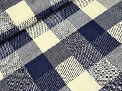 Bavlněné plátno - Čtverce tmavě modré
