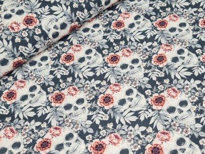 Bavlněné plátno - Lebky s květinami na tmavě šedé