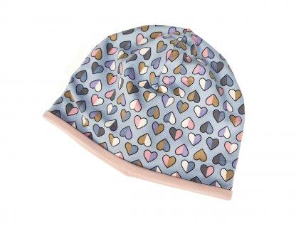 Dvojitá čepice - Srdíčka / perlově růžová