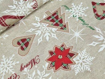 Dekorační látka - Merry Christmas