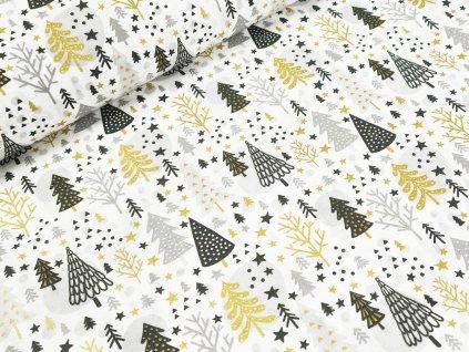 Bavlněné plátno - Vánoční stromečky na bílé (zlatotisk)