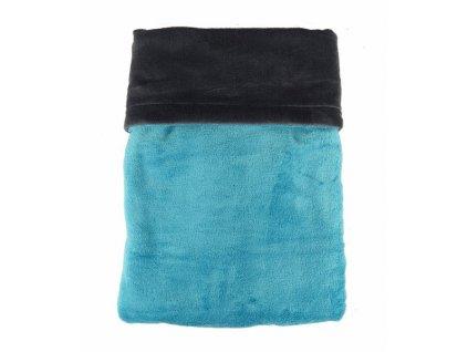Dvojitá deka fleece coral / tm. šedá - mořská modř