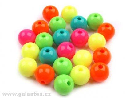 Korálky plastové 10 mm kuličky - mix neonových barev (10kusů)