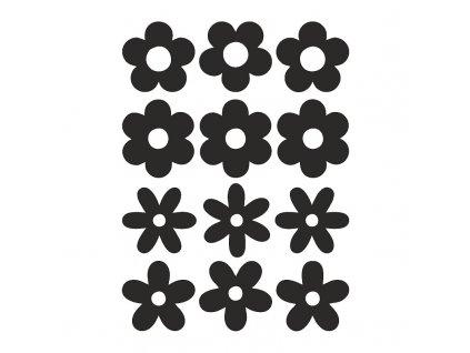 Sametový nažehlovací potisk - květy (12 kusů)