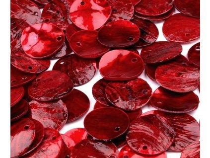 Perleťové penízky 15 mm - červené