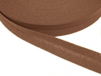 Šikmý proužek bavlněný šíře 14 mm - hnědá