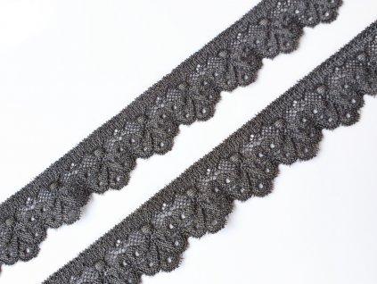 Krajka elastická 29 mm - šedá