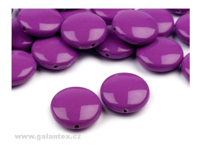 Korálky plastové 16mm Placka (10ks) - fialové