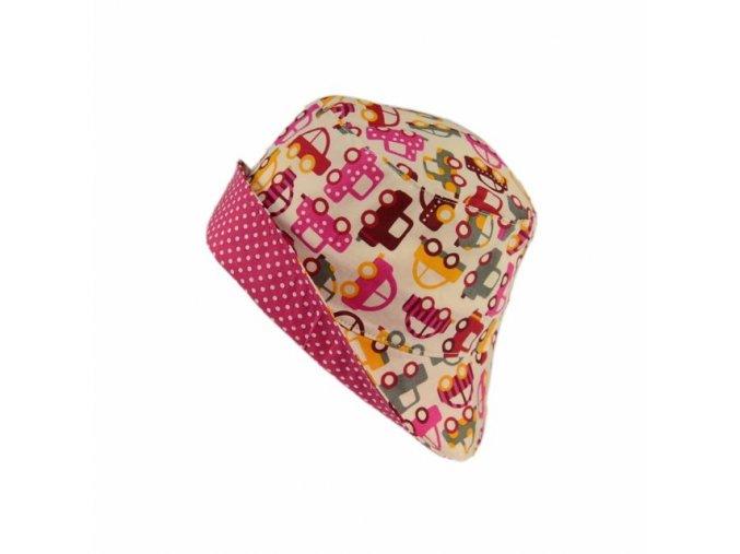 Letní klobouk růžová autíčka
