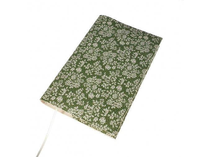 Nastavitelný obal na knihu - Růžičky zelené