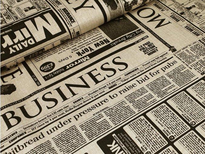 Bavlněné plátno - Noviny na béžovém režném efektu