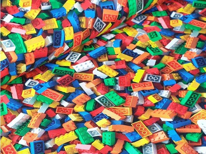 Jednolícní elastický úplet - Lego (digitální tisk)