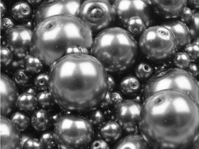 Voskované perly 4-12 mm kulička (30 g) - stříbrná tmavá