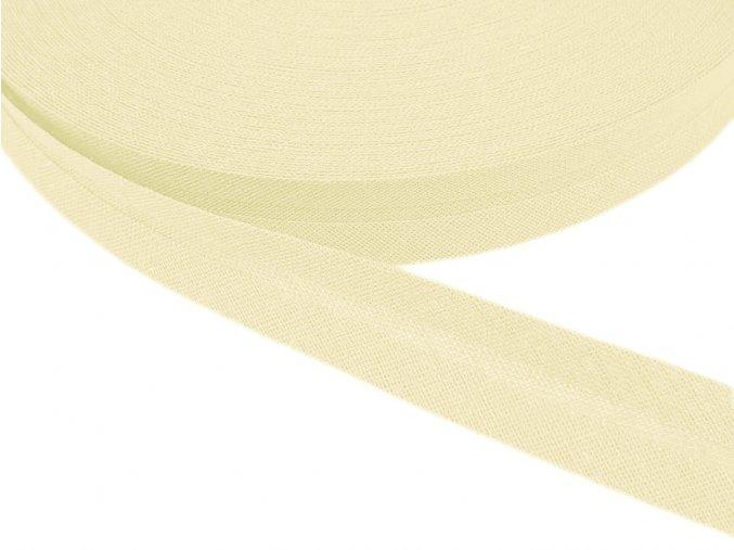 Šikmý proužek bavlněný šíře 20 mm - krémová