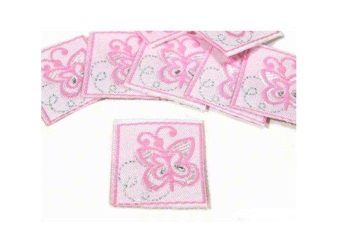 Nášivka 22x24mm  motýlek - růžová
