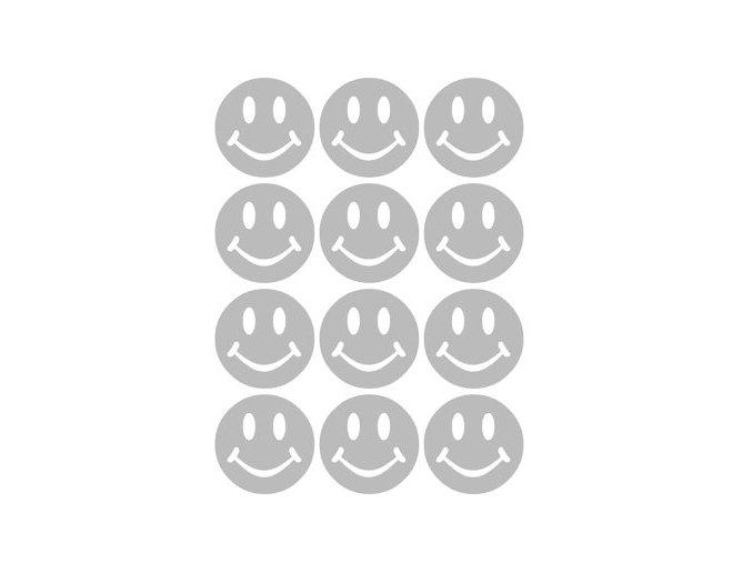 Reflexní nažehlovací potisk - smajlíci (12 kusů)