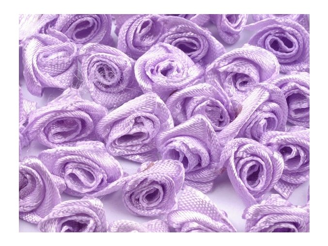 Růžička saténová Ø 10-12mm (10 kusů) - sv. fialová