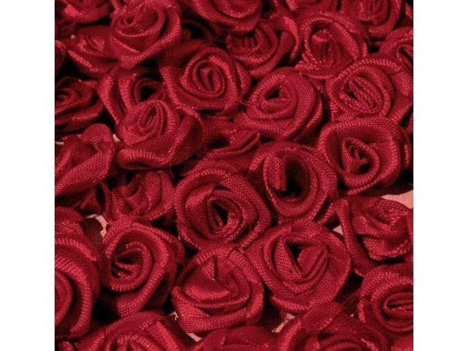 Růžička saténová OE 10-12mm (10 kusů) - vínová