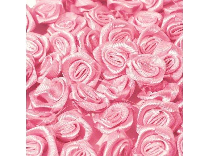 Růžička saténová OE 10-12mm (10 kusů) - růžová