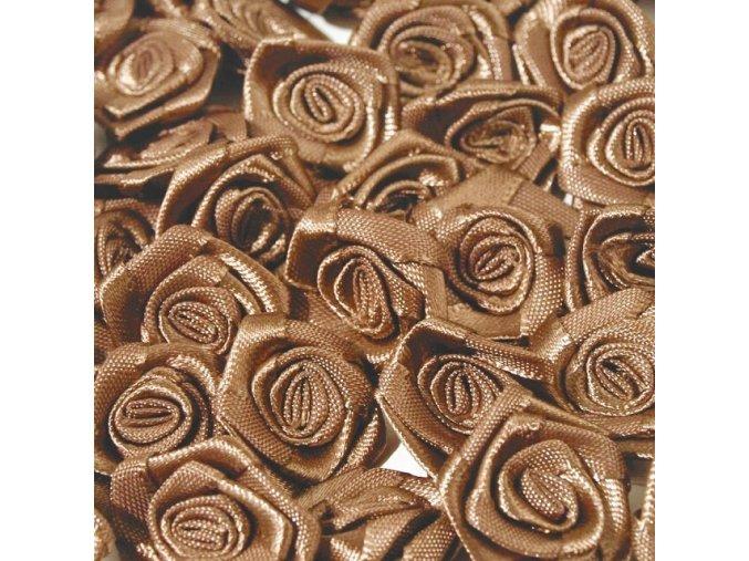 Růžička saténová Ø 10-12mm (10 kusů) - sv. hnědá