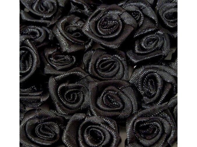Růžička saténová OE 10-12mm (10 kusů) - černá