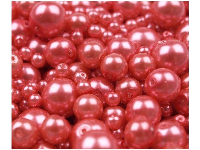 Voskované perly 4-12mm kulička (30g) - růžovočervené