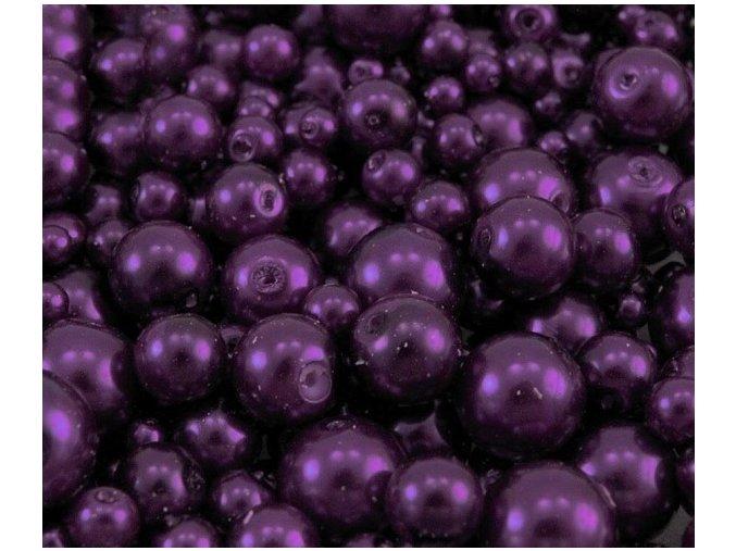Voskované perly 4-12mm kulička (30g) - tm. fialové
